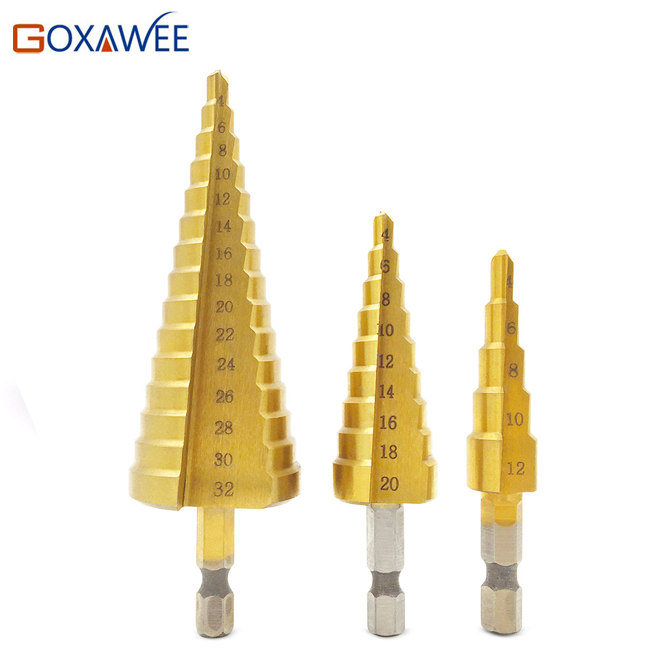 цена на GOXAWEE 3pcsTitanium Step Core Drill Bits 4-12mm 4-20mm 4-32mm HSS Power Tools High Speed Steel Wood Metal Drill bit hole cutter