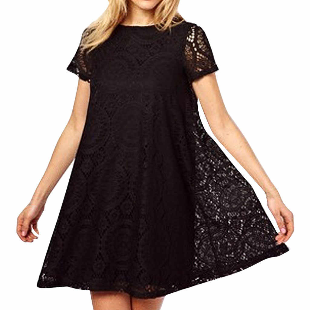 2019 New Women Loose Dress Ladies Summer Casual Party Dresses Short Sleeve Plus Size O-Neck Sexy Lace Hollow out Dresses #619