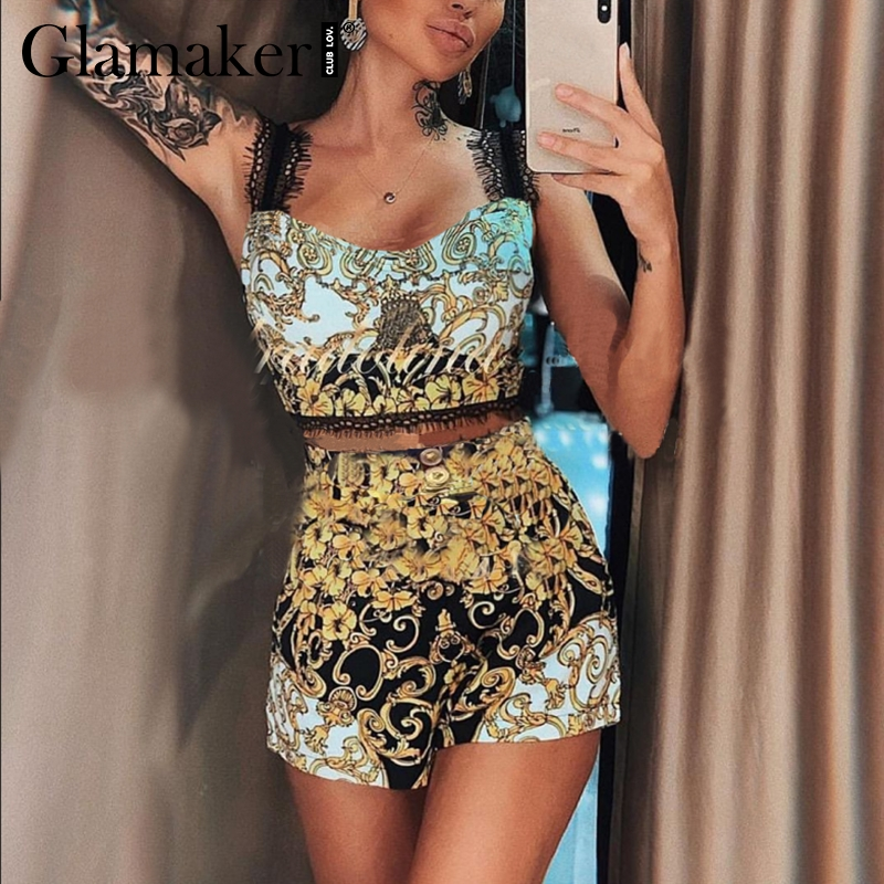 Glamaker Paisley print two piece set short   jumpsuit   Women sexy lace strappy top camisole Female   jumpsuit   & romper retro overalls
