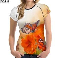 FORUDESIGNS Women's T-shirt O-Neck Harajuku Tops Tees Butterfly Printed Partysu Youth Girls T Shirts Female Casual Tshirts Plain босоножки autonomous kl003 2015 partysu