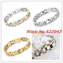 8″*10mm Womens Men Stainless Steel Bracelet Silver/Gold/Silver Gold Bangle Jewelry Accessories Wristband Link Chains Bracelets