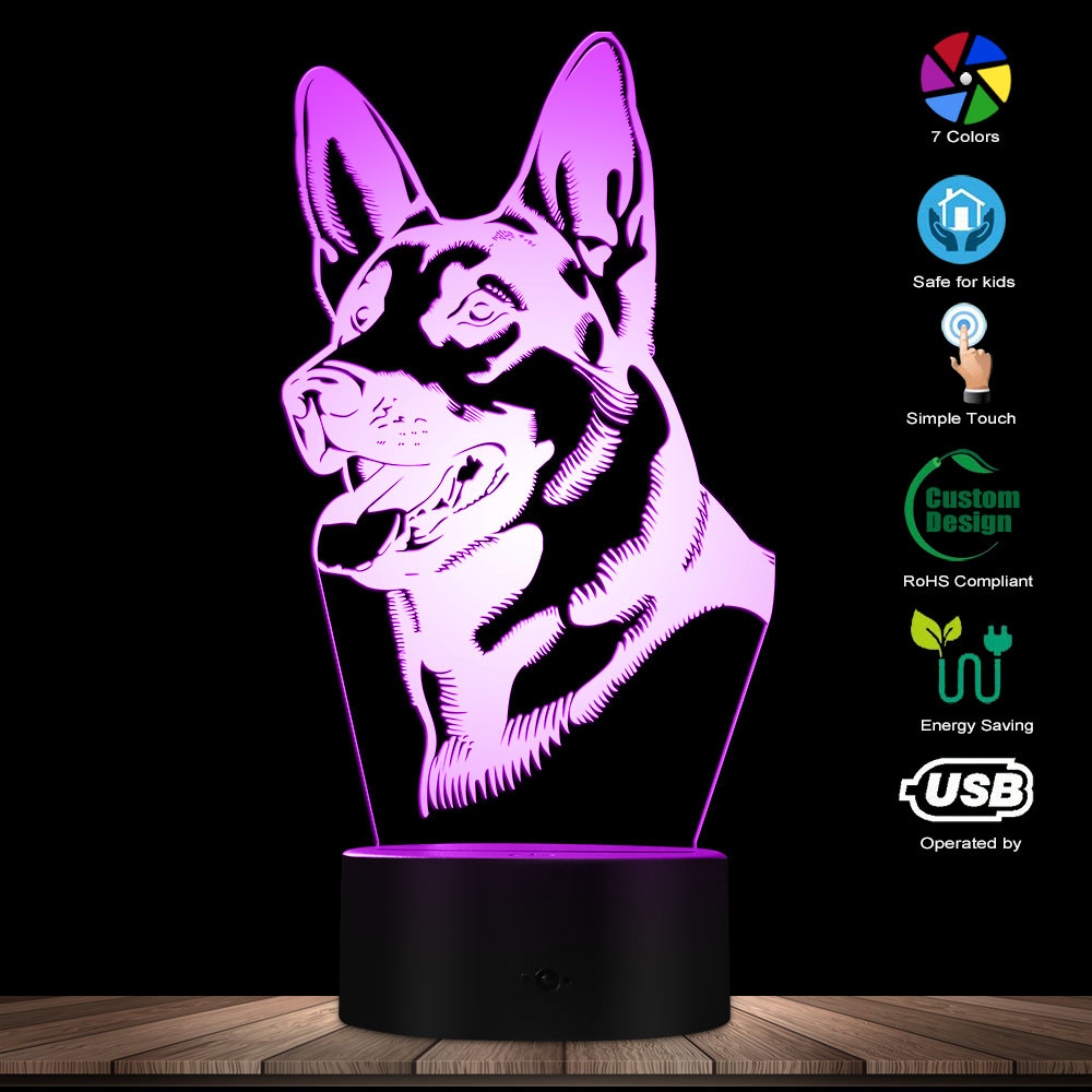 Cute Dog Shepherd Shape Design Customize Name 3D Optical Illusion Night Light Glowing LED Visual Lamp Pet Puppy Lover Gift