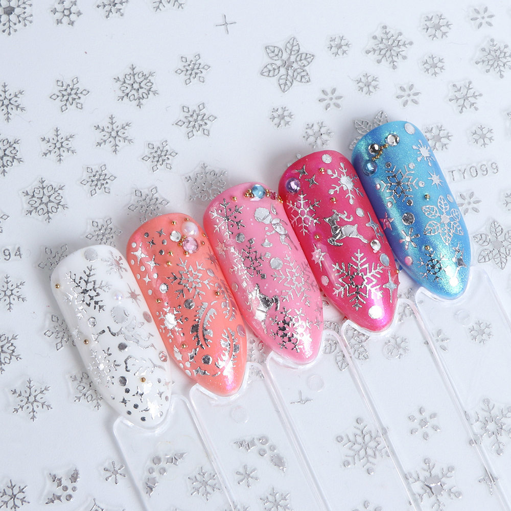 Image 5 - 12 Designs Snowflake Hollow 3D Nail Art Sticker Christmas Winter Snow Nail Wrap Decals Gold/Silver/White Manicure Decor LATY/SMY-in Stickers & Decals from Beauty & Health