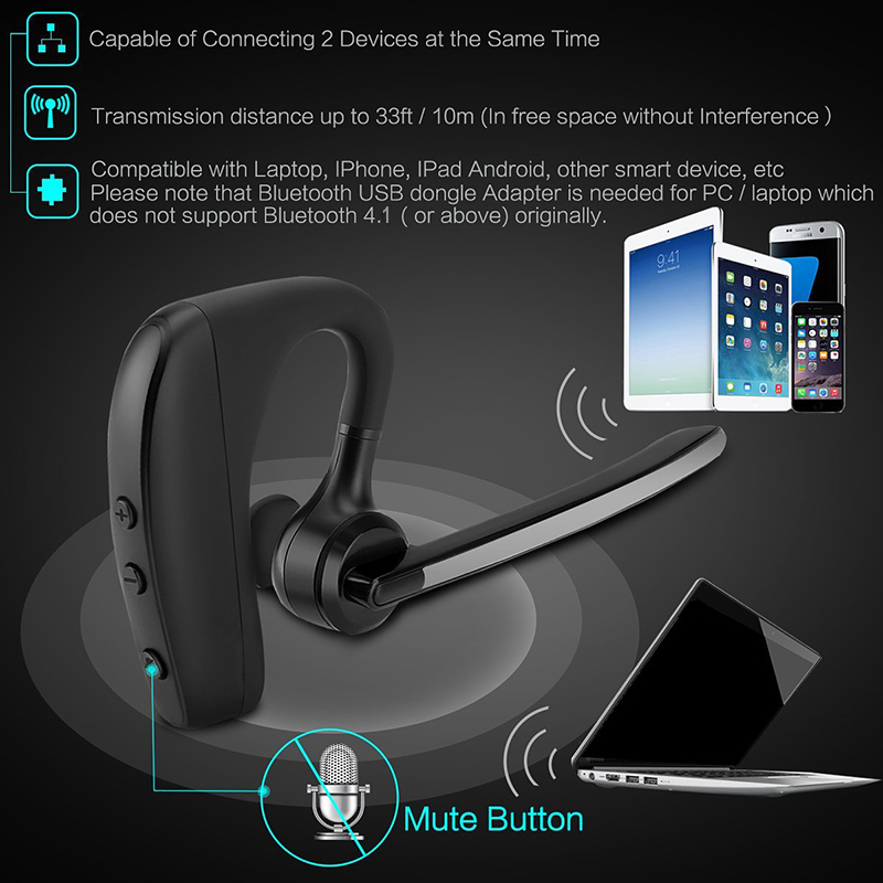 Newest K10 Bluetooth Headphones Wireless Earphone Handsfree Noise Cancelling Car Driver Bluetooth Headset with Mic for phones PC in Bluetooth Earphones Headphones from Consumer Electronics
