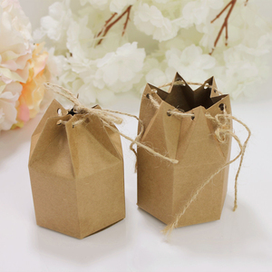 Image 4 - 50pcs Creative Kraft Paper Package Cardboard Box Lantern Hexagon Craft Gift Candy Box Party Wedding Favors Gift Packaging Paper