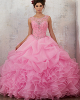 Vestido Debutante Custom Made Sparkly Beading Crystal Open Back Princess Quinceanera Dresses With 6 Ring Pettidcoat Sweet 16