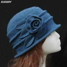 7 цветов; Новинка для мужчин и женщин среднего возраста Для женщин купол фетровая шляпка шерстяная шерстяная шляпа шляпы для мам Для осень-зима из плотной ткани с цветочной теплые широкополая шляпа Chapeau Femme