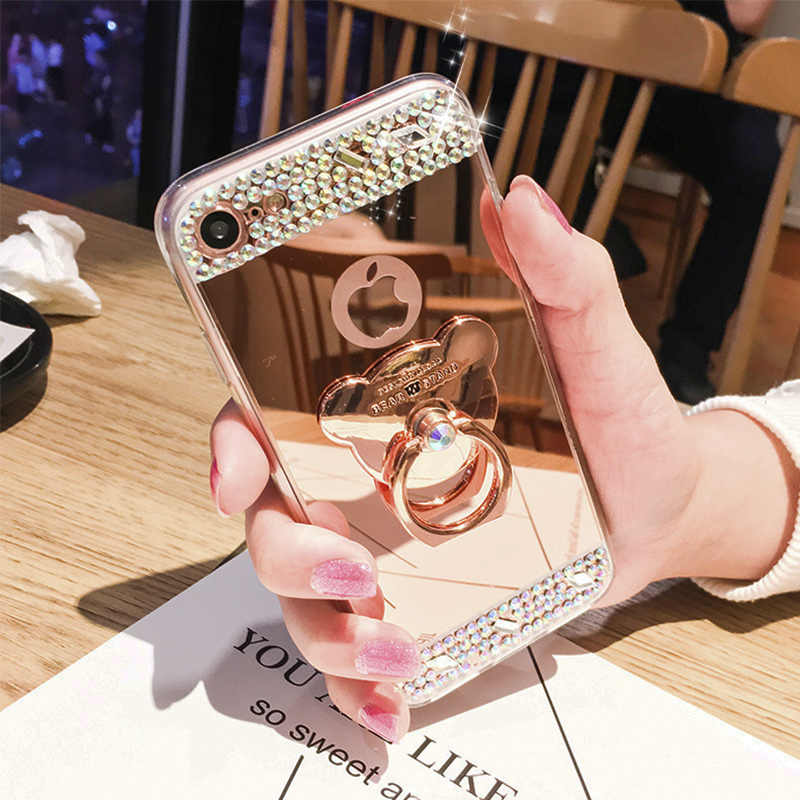 Роскошный lovecom Зеркало Алмазный чехол для iPhone X XS 6 6S 7 8 плюс кольцо кронштейн держатель Подставка для всего тела защитная задняя панель для телефона из мягкого термопластичного полиуретана с изображением