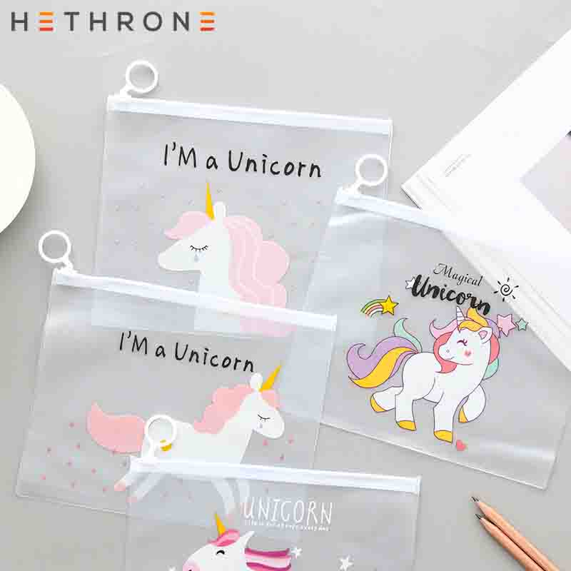 Hethrone Leopard Unicorn Notebook Pencil Case File Holders Storage Bag Transparent PVC Self-Styled Zipper Office Supplies Bag