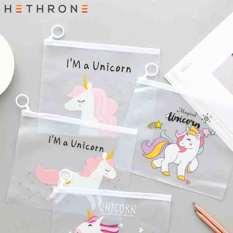 Hethrone Leopard Unicorn Notebook Pencil Case File Holders Storage Bag Transparent PVC Self-Styled Zipper Office Supplies Bag