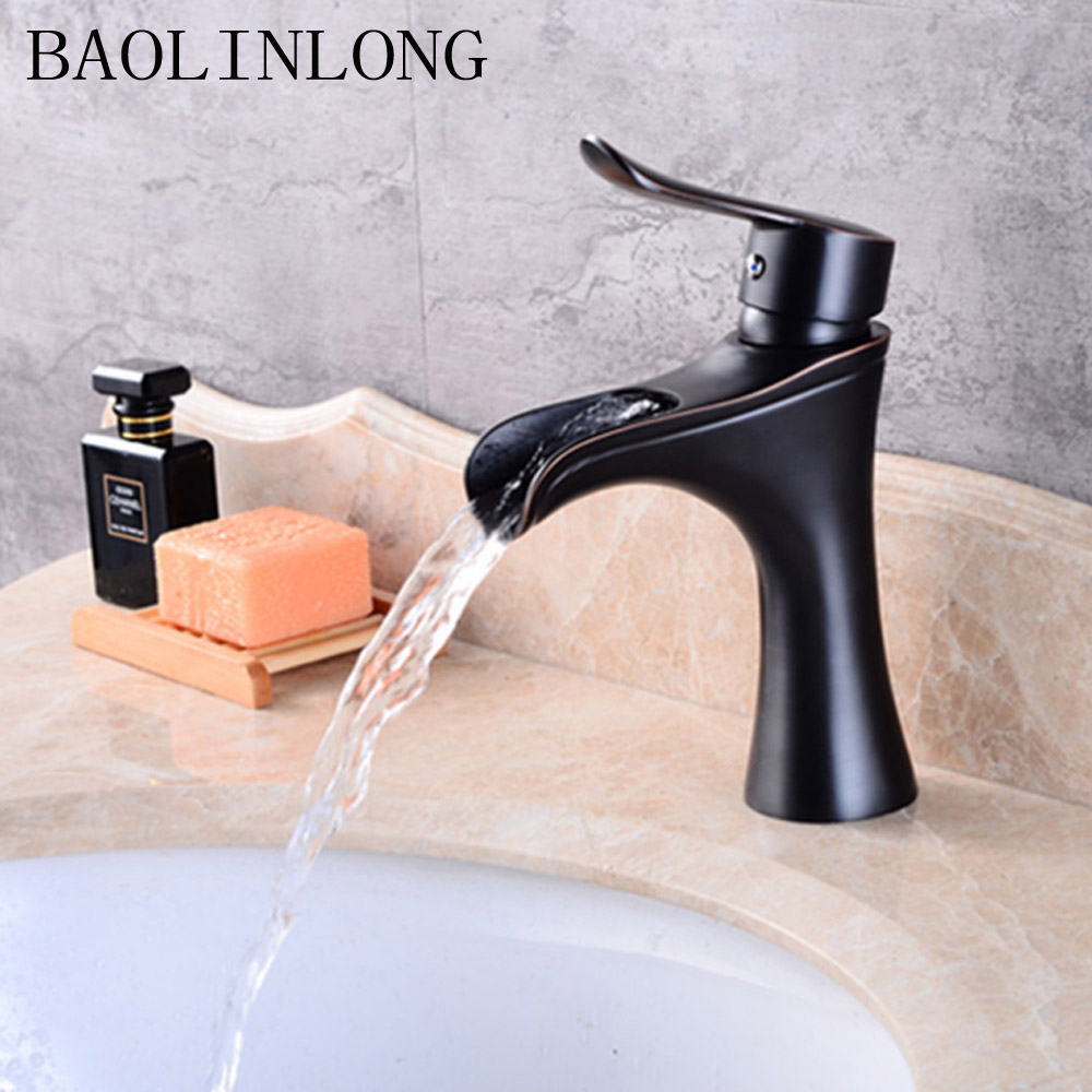 BAOLINLONG Waterfall Style Brass Bathroom Faucet Deck Mount Vanity Vessel Sinks Mixer Cold And Hot Water Faucets Tap