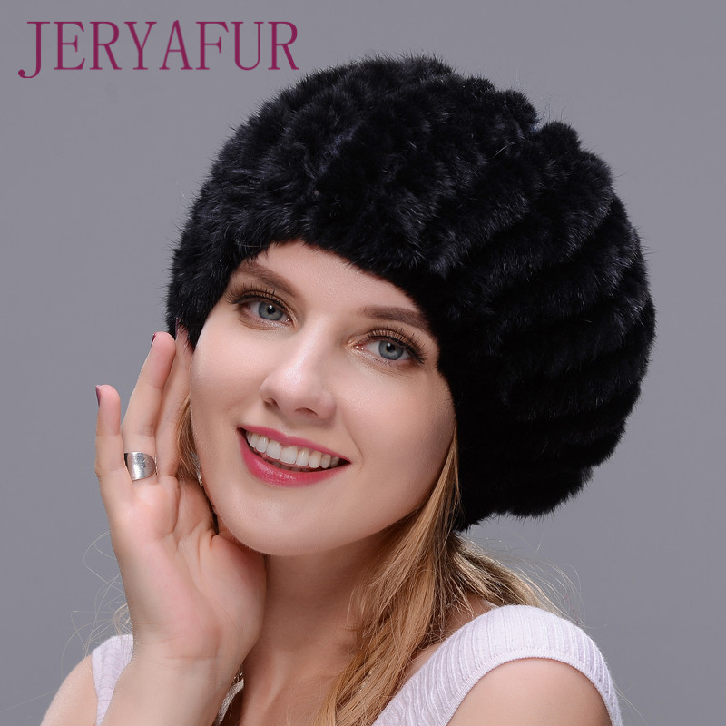 Shellfish hat 2017 hot selling women winter cap ear warm mink knitted hat fur hat with small ball on the top POPULAR STYLE beret new russia fur hat winter boy girl real rex rabbit fur hat children warm kids fur hat women ear bunny fur hat cap