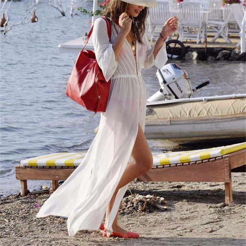 New Arrivals Beach Cover up White Chiffon Translucent Swimwear Ladies Beach Cape Sun Bath Sexy Beach Tunic Praia Beach Wear #Q9