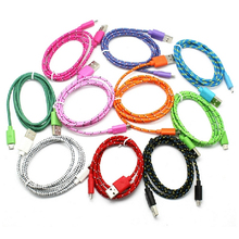 1M USB date cables Fabric Braided Sync Cable Charger Cord For iphone6 plus iPhone5s fit for IOS8 for LG HTC Samsung S4 Android