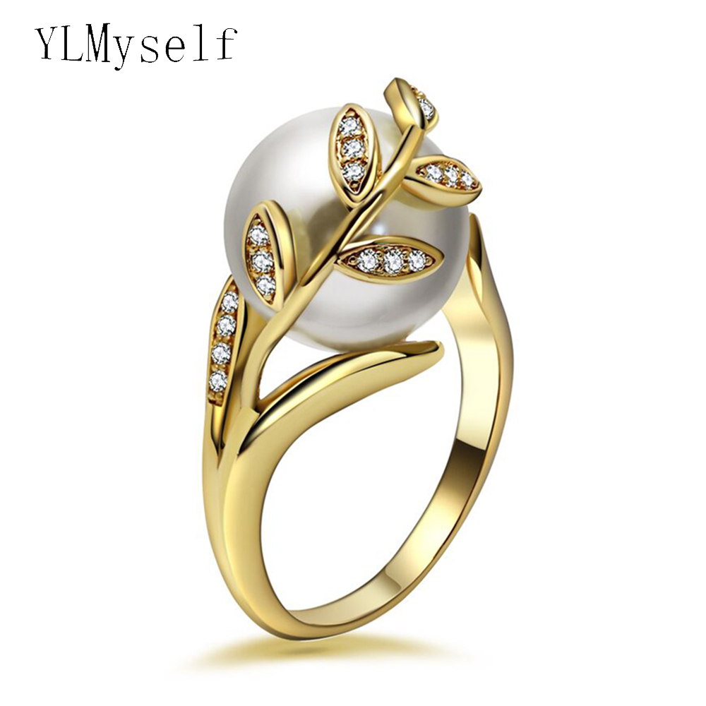 Trendy hot ring with cream Pearl & cubic zircon Women jewelry dropshipping anel anillos aneis femme statement leaf finger rings