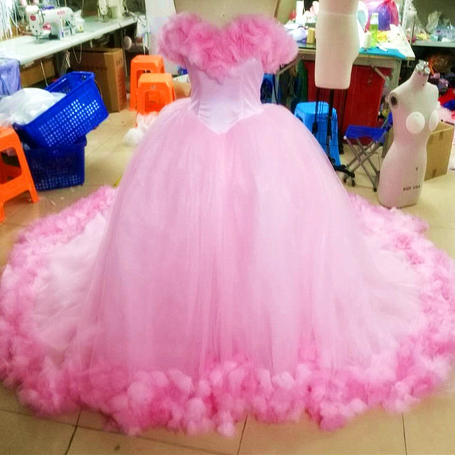 2c83a8052ed Cinderella Quinceanera Dresses Pink Princess Ball Gown Formal Long Party  Gowns Off Shoulder 3D Flowers Real Photos