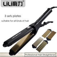 Professional Titanium Hair Straightener Styling Tools Perfect Hair Styler Flat Iron Chapinha Plate Exchangeable With Spare