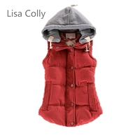 2015 Good Quality Women Warm Cotton Hooded Vest Women Winter Coat Warm Coral Fleece Vest Fashion