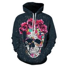Plus large size clothing hooded sweatshirt mens Moletom skull mask pink flower jersey shirt top