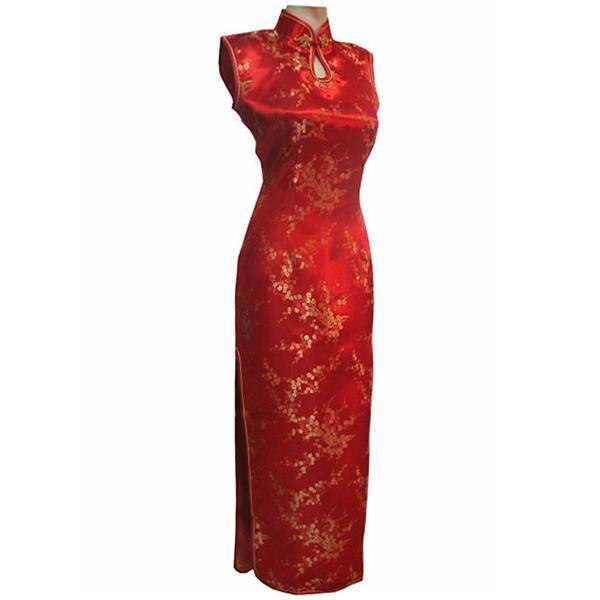 7c3c305c91 New Arrival Red Chinese Traditional Dress Women Silk Satin Cheongsam ...