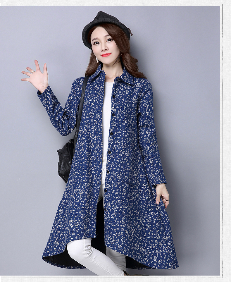 BUYKUD Vintage Shirt-Coats 2018 Autumn Winter New Long Sleeve Printed Coat Office Lady Irregular hem Women Button Linen Coats 15
