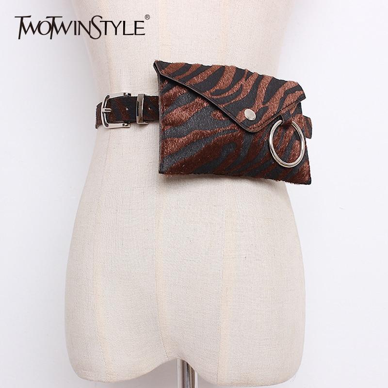 TWOTWINSTYLE Print Women's Wide Belt PU Leather Mini Pockets Waist Belt Fashion Streetwear Style Clothing 2019 Autumn Winter New