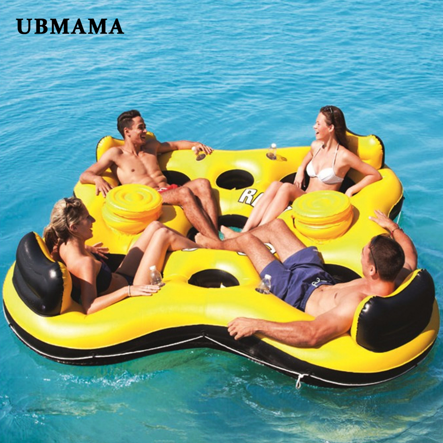 4 adults Huge inflatable pool float giant floating fashion swimming pool island lounge inflatable pool party water rest bed 4 person island inflatable water group pool float lake river floating lounge raft backrest recliner floating sleeping bed chair