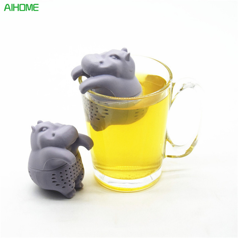 1pc Hippo Shaped Tea Infuser Silicone Reusable Strainer Coffee Herb Filter Empty Bags Loose Leaf Diffuser Accessories