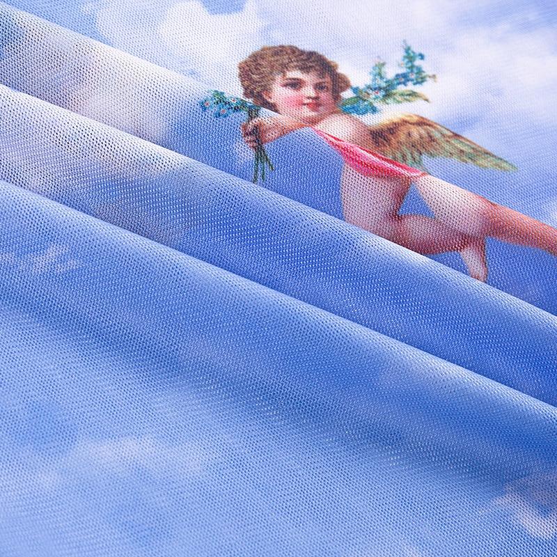 New Fashion Women See-through Sheer Mesh Fishnet T-Shirt Fashion Top Cute Angel Printed Female Summer Mesh Tops 19