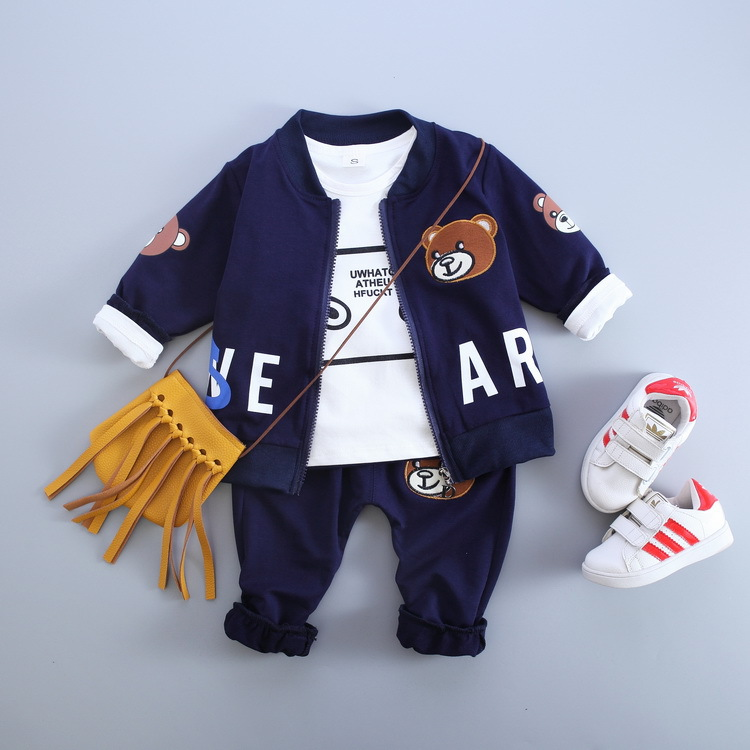 Free shipping 2018 new casual zipper three pieces sets Cartoon Bear Baby sports clothes baby boys suits