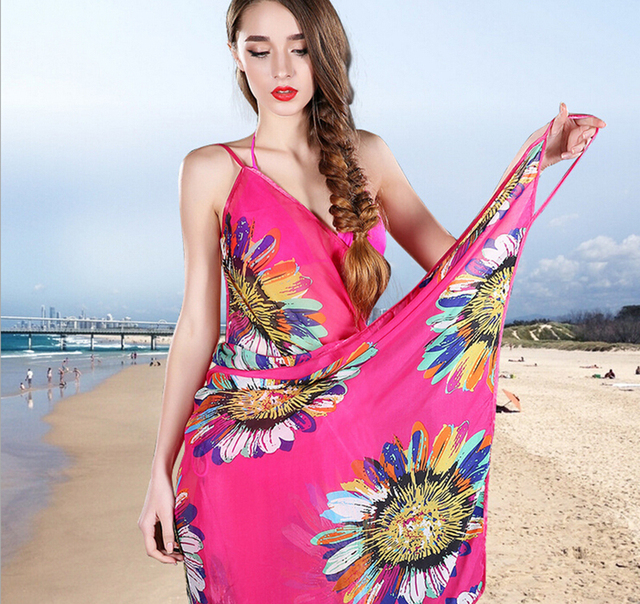 9ab306686f9c0 Deep V Wrap Chiffon Swimwear Bikini Cover Up Strap Flower Sarong Beach  Dress shawl scarf Free