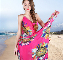 Deep V Wrap Chiffon Swimwear Bikini Cover Up  Strap   Flower  Sarong Beach Dress   shawl  scarf Free shipping