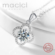 Genuine 925 Sterling Silver CZ Stone Pendant Wedding Jewelry Elegant Women Statement Necklace Accessories Hot Sale DA686