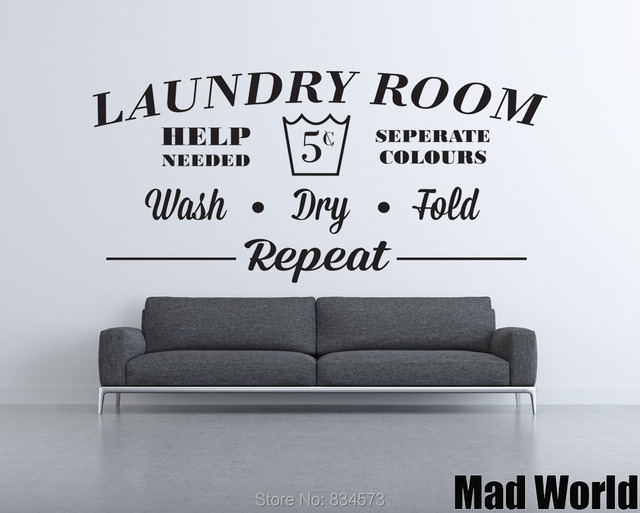 Mad World Laundry Room Wash Dry Fold Repeat Wall Art Sticker Decal Home DIY  Decoration Part 40