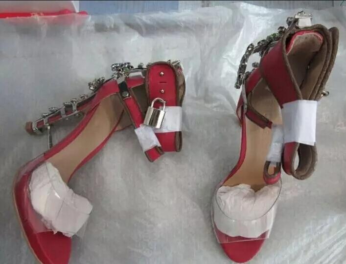 Women Fashion Open Toe Transparent Ankle Strap Rhinestone Strange Heel Sandals Lock Design Spike Crystal Gladiator Sandals rhinestone design toe post sandals