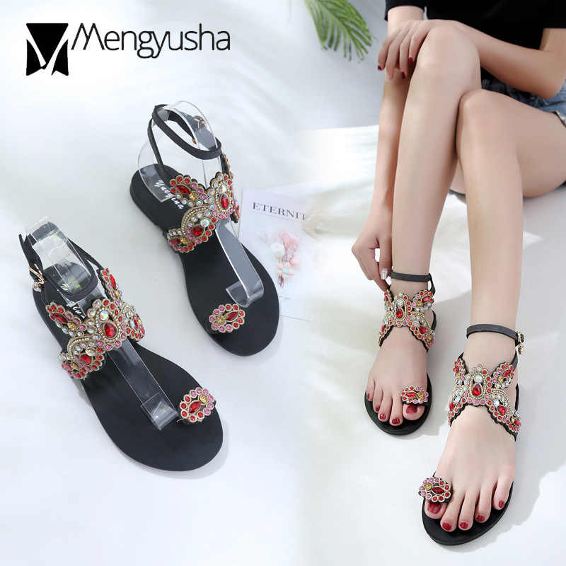 f83311cd195e Crystal butterfly flat sandals woman colorful diamond sandalias mujer  flipflops bohemian clip toe hollow out sandals