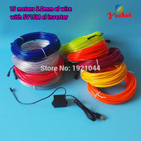 10 Colors Choose 5.0mm 15Meters Home Party Decorative 5V USB Flexible EL Wire neon Glow wire LED Thread Neon Light Rope Tube