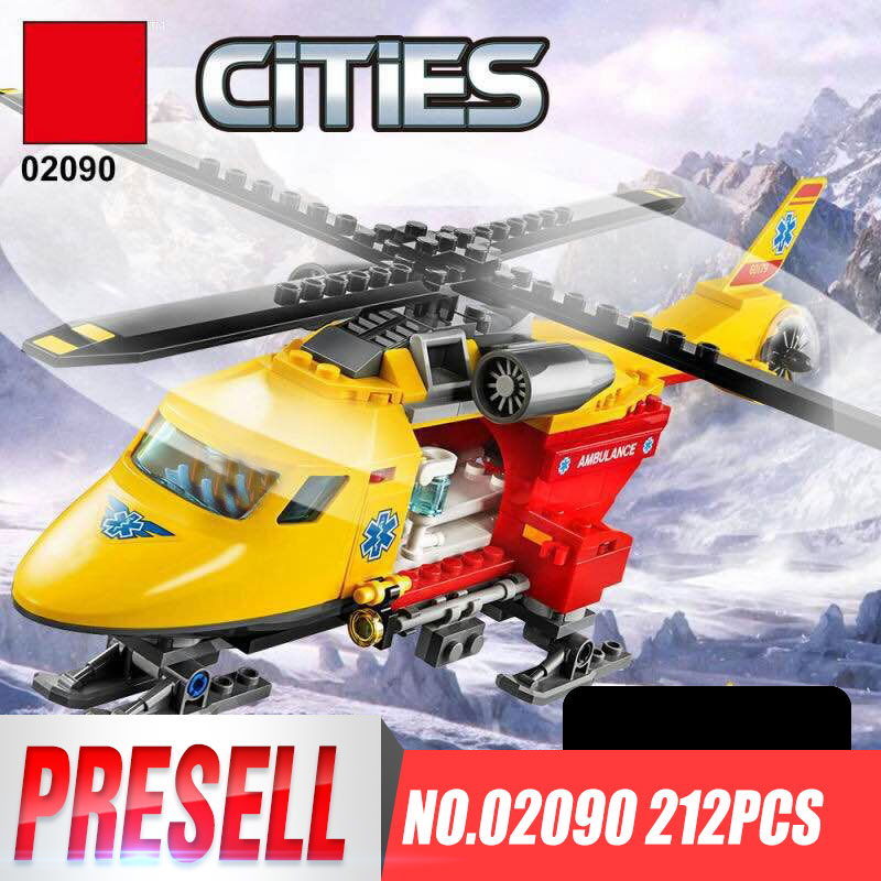 Lepin 02090 City Series The Ambulance Helicopter Set LegoINGys 60179 Building Blocks Bricks Educational Toys For Kids As Gifts lepin 02004 356pcs city series volcanic expedition transport helicopter model building blocks bricks toys for children gift