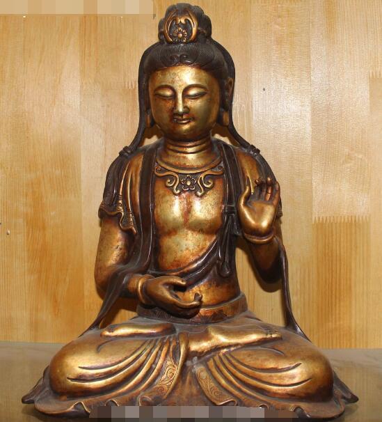 S5222 15 Purple Bronze 24K Gold Buddhism Kwan-yin Bodhisattva Goddess Buddha StatueS5222 15 Purple Bronze 24K Gold Buddhism Kwan-yin Bodhisattva Goddess Buddha Statue