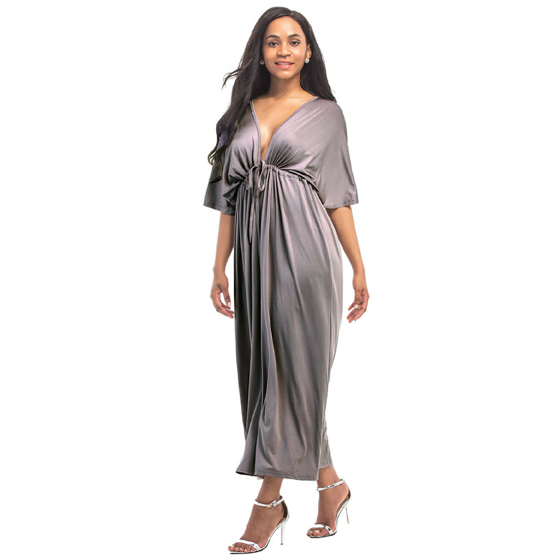 Deep V-neck Maternity Evening Dresses For Pregnant Women Elegant Pregnancy Dresses Lady Vestidos Gravidas Clothes Summer