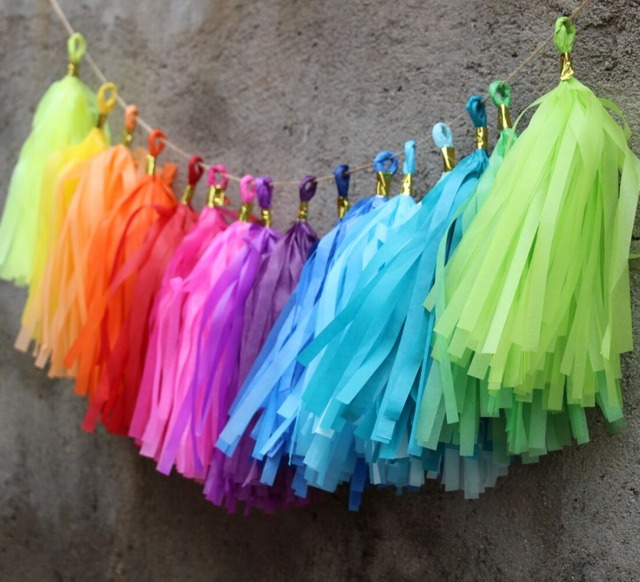 60pcs Rainbow Party Banner Kit Tissue Tassel Garland DIY Outdoor Decorations Back To School Paper