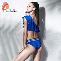 Andzhelika Bikini Girls Swimwear One Shoulder Blue Lotus Leaf Top Bikini Sets Sexy Mesh Waist Bottom