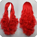 Long Bright Red Wig Synthetic Sexy Party Hair Women's Long Wavy Cosplay Anime Full Wigs Long Bright Red Wig