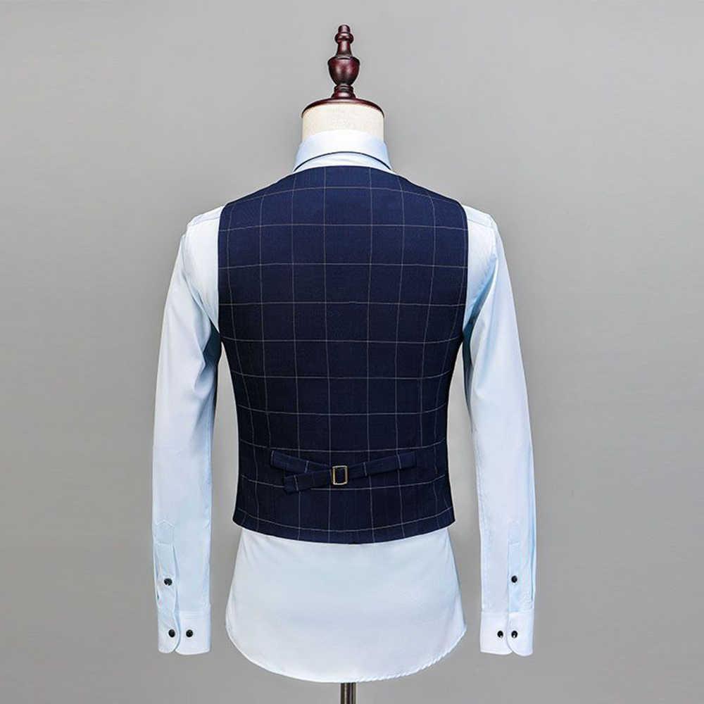 男性の格子縞のスーツ 3 個ノッチショールラペルコートブレザースーツセットフォーマルスリムフィットタキシードスーツ 2019 ロイヤルブルー (ブレザー + ベスト + パンツ)