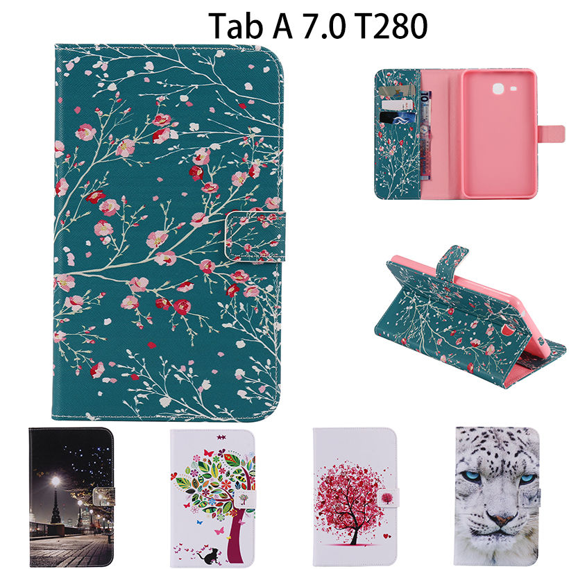 28b882cd519 2016 New Cartoon Leather Case For Samsung Galaxy Tab A a6 7.0 T280 T285 SM-T280  Cases Cover Tablet Fashion Funda Stand Shell