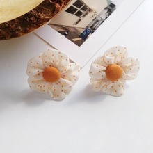 Korean Design Cloth Fabric Cute Rose Flower Stud Earrings Plant Simple Sweet Earring