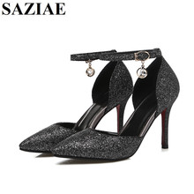 [SAZIAE] Red Bottom High Heels Women Pumps Glitter High Heel Shoes Woman Sexy Wedding Party Shoes Gold Black Female Sexy Pumps