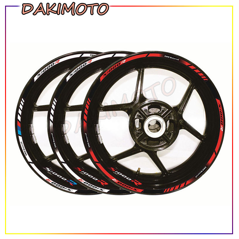 12 X Motorcycle Tyre Sign Decoration Sticker Outer Rim Reflective Decals Stripe Wheel Decals For BMW S1000R S1000r