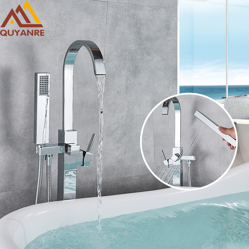 Quyanre Chrome Bathtub Floor Standing Faucet Mixer Single Handle Mixer Tap Waterfall Bath Shower Faucet Mixer Tap Tub Shower