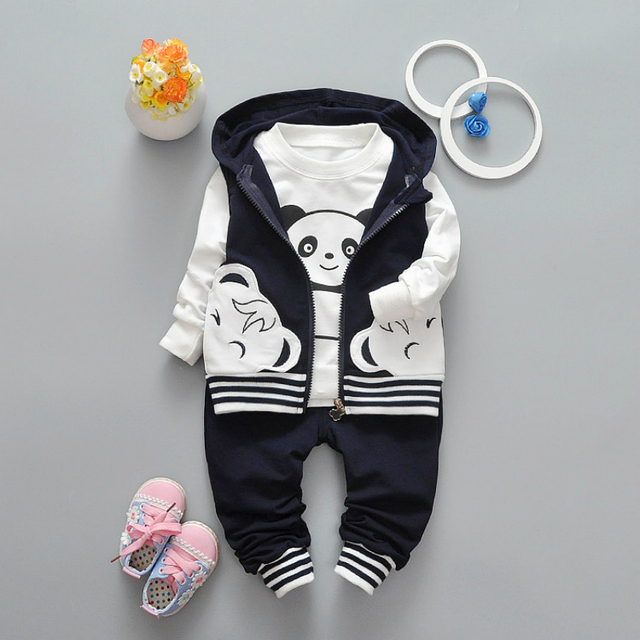 3pcs/sets 2017 New Children's Clothing 0-4 Years Baby Long Sleeve T-shirt+hoodies Vest+long Trousers Boys Girls Children's Sets